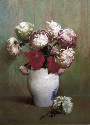 Chrysanthemums in a Canton Vase