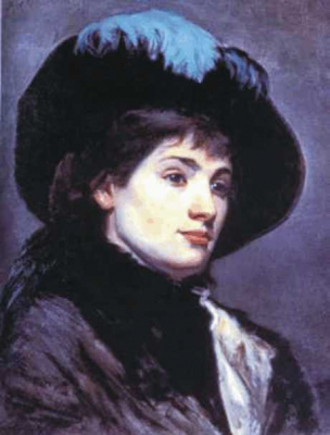 Young Lady Wearing a Hat with a Blue Feather
