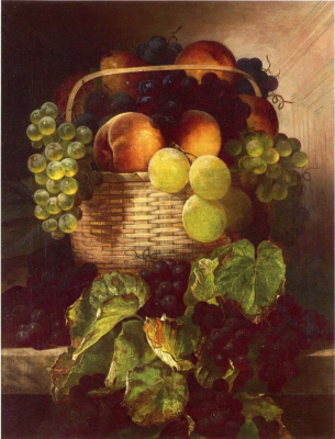 Still Life with Grapes, Plums and Peaches in a Basket