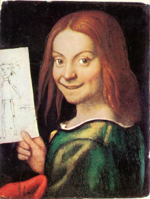 Read headed Youth Holding a Drawing