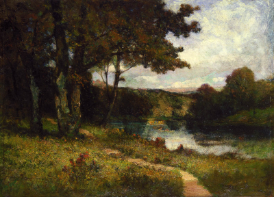 Untitled (landscape, trees near river)
