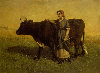Untitled (woman walking with cow)