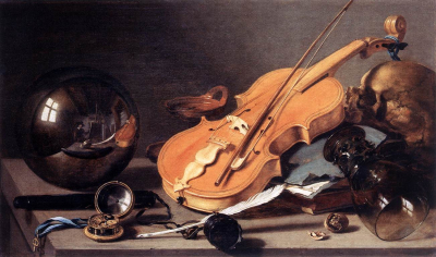 Vanitas with Violin and Glass Ball