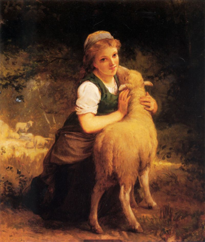 Young Girl with Lamb