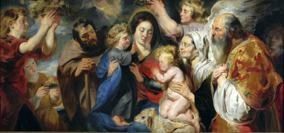 The Holy Family with Saint John, His Parents, and Angels