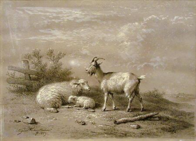 Ewe and Lamb with Goat