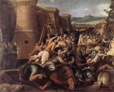 Saint Clare with the Scene of the Siege of Assisi
