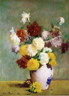 Still Life of Chrysanthemums in a Canton Vase