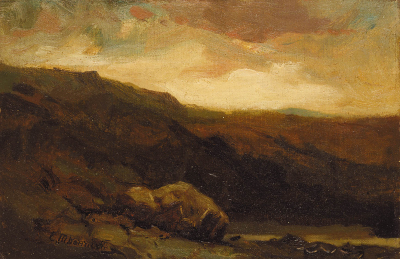 Untitled (mountainous landscape with rock and stream in foreground)