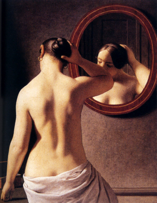 Woman Standing In Front Of A Mirror 1841