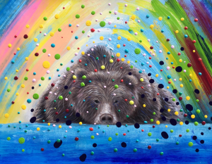Colorful 3D Dots Bear Painting