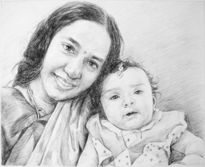 Order 2 Persons Charcoal/Pencil Portrait from Photo