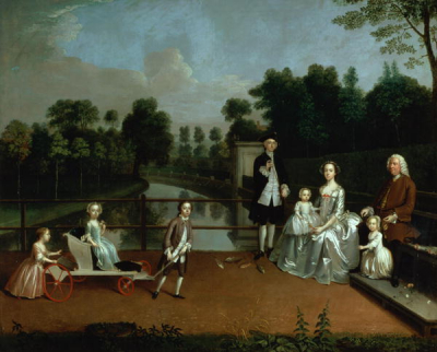 A Family Group on a Terrace in a Garden 1749