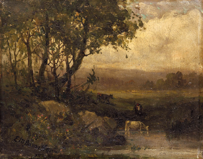 Untitled (landscape, riverbank, three cows)