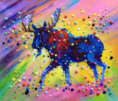 Colorful 3D Dots Wildlife Painting