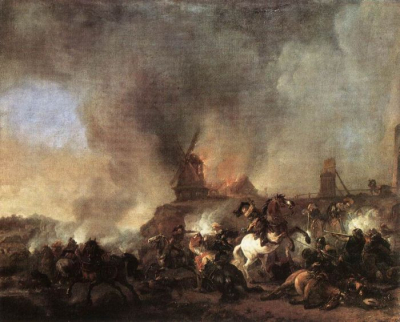 Cavalry Battle in Front of a Burning Mill