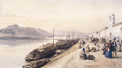 Quay of the Danube with Greek Church