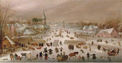 A Winter Landscape With Skaters On A Frozen River