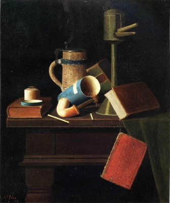Still Life with Mug, Pipe and Books