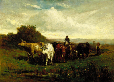 Untitled (man on horseback, woman on foot driving cattle)
