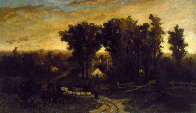 Untitled (woman with cattle and sheep at dusk)