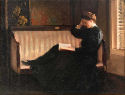 Woman Reading on a Settee
