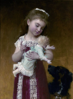 Young Girl and Her Dolls