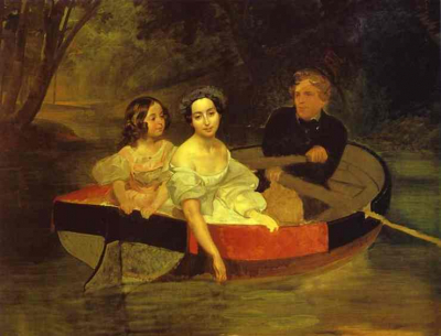 Self portrait with Baroness Ye N Meller Zakomelskaya and a Girl in a Boat
