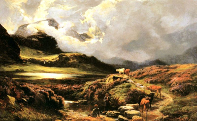 Cattle and Drovers on a Path, Styhead Pass, Cumberland