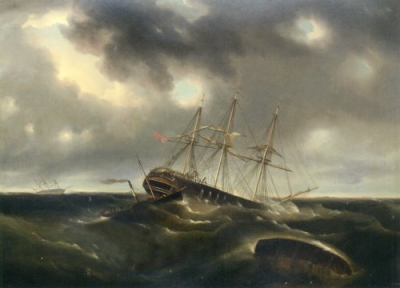 The Merchant Ship Lockwoods Caught In A Gale Off Liverpool