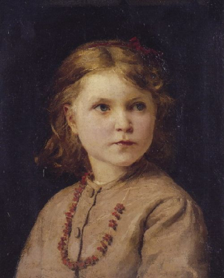 Portrait of a girl with red necklace
