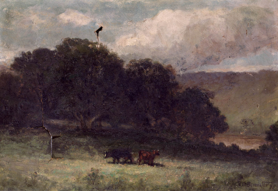 Untitled (landscape with trees and two cows in meadow)