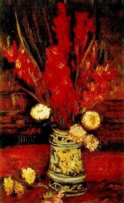 Vase with Dark Red Gladioli