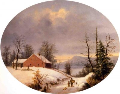 Winter Farmyard and Travelers