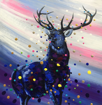 Colorful 3D Dots Deer Painting Blue