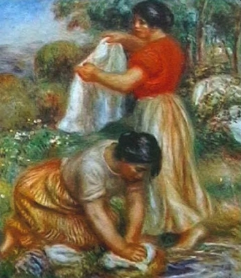 Woman washing the linen