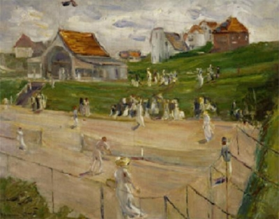 Tennis Court with Players