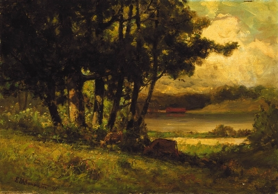 Untitled (landscape with cows grazing near river)
