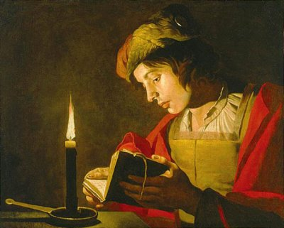Young Man Reading by Candlelight