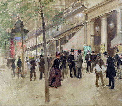 The Boulevard Montmartre and the Theatre des Varietes 1886