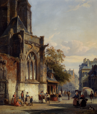 Town Square Before a Church - A Capriccio