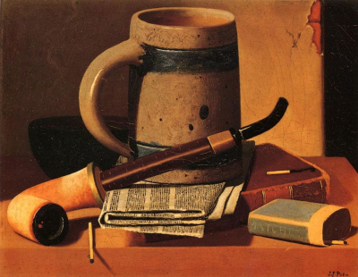 Still Life with Pipe, Beer Stein, Newspaper, Book and Matches
