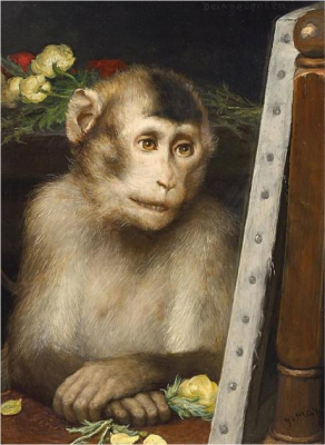 Monkey Viewing a Painting