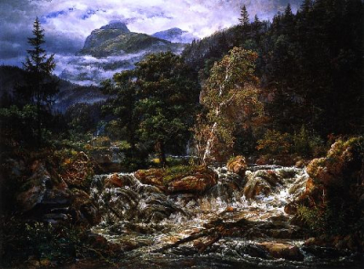 Norwegian Mountain Landscape with Waterfall