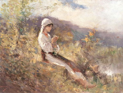 Peasant Woman Sitting on the Grass