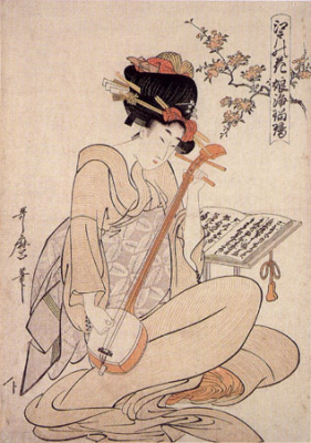 Young Woman's Narrative Chanting To The Samisen