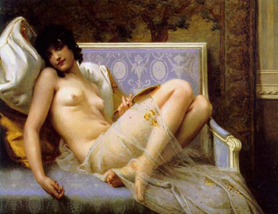 Young Woman Naked on a Settee