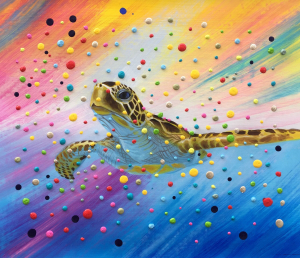 Colorful 3D Dots Turtle Painting