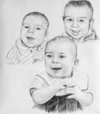 Order 3 Persons Charcoal/Pencil Portrait from Photo