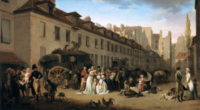 The Arrival of a Stagecoach in the Courtyard of the Messageries